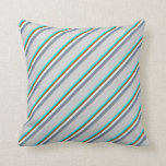 [ Thumbnail: Cyan, Brown, Mint Cream, Slate Gray & Light Gray Throw Pillow ]