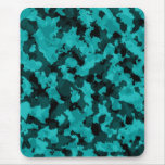 Cyan Camouflage Mouse Pad