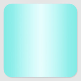 Cyan - Celeste and Turquoise Gradient Square Stickers