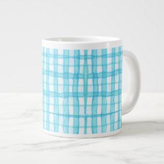 Cyan checkered Large Mug