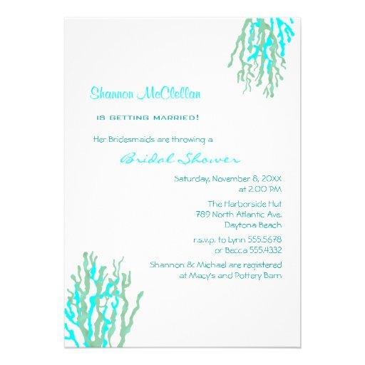 Cyan Coral Beach Bridal Shower Invitations