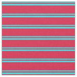 [ Thumbnail: Cyan & Crimson Lines Fabric ]