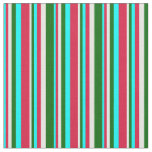 [ Thumbnail: Cyan, Crimson, Mint Cream & Dark Green Pattern Fabric ]