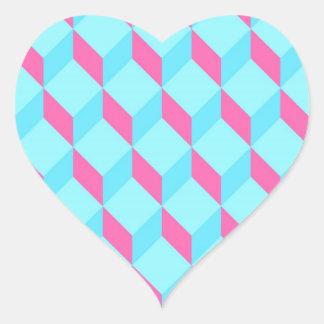 Cyan Cubes Heart Sticker