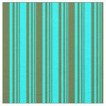 [ Thumbnail: Cyan & Dark Olive Green Colored Stripes Pattern Fabric ]