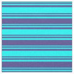 [ Thumbnail: Cyan & Dark Slate Blue Colored Pattern Fabric ]