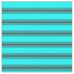 [ Thumbnail: Cyan & Dark Slate Gray Lines/Stripes Pattern Fabric ]