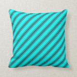 [ Thumbnail: Cyan & Dark Slate Gray Lines/Stripes Pattern Throw Pillow ]