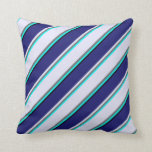 [ Thumbnail: Cyan, Dim Gray, Lavender, Midnight Blue & Black Throw Pillow ]