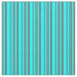 [ Thumbnail: Cyan & Dim Gray Pattern of Stripes Fabric ]