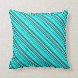 [ Thumbnail: Cyan & Dim Gray Pattern of Stripes Throw Pillow ]