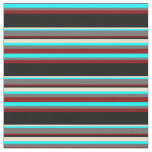 [ Thumbnail: Cyan, Dim Grey, Maroon, Black & Beige Pattern Fabric ]