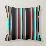 [ Thumbnail: Cyan, Dim Grey, Maroon, Black & Beige Pattern Throw Pillow ]