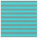 [ Thumbnail: Cyan & Dim Grey Striped Pattern Fabric ]