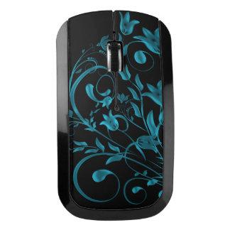 Cyan floral Swirl Wireless Mouse