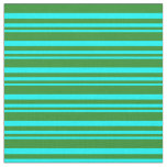 [ Thumbnail: Cyan & Forest Green Colored Pattern Fabric ]