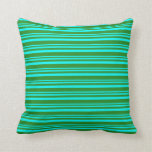 [ Thumbnail: Cyan & Forest Green Colored Pattern Throw Pillow ]