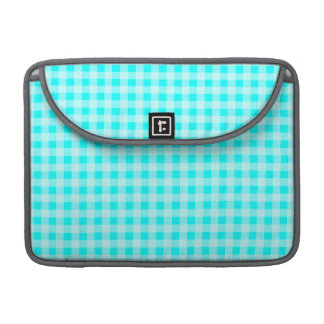 Cyan Gingham; Checkered Sleeve For MacBook Pro