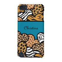 Cyan Girly animal print hearts with a name iPod Touch 5G Case