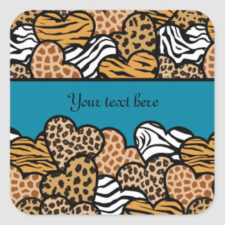 Cyan Girly animal print hearts with a name Square Sticker