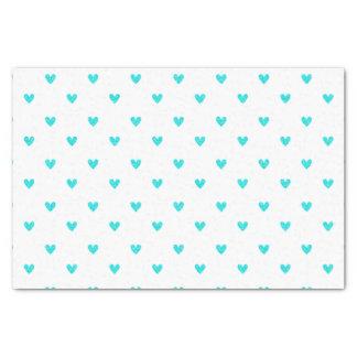 "Cyan Glitter Hearts Pattern 10"" X 15"" Tissue Paper"