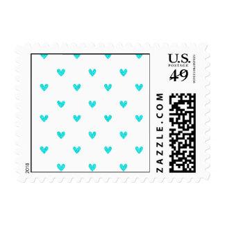 Cyan Glitter Hearts Pattern Stamps