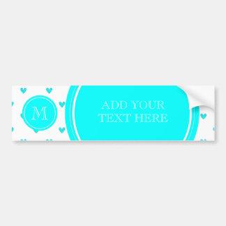 Cyan Glitter Hearts with Monogram Bumper Sticker