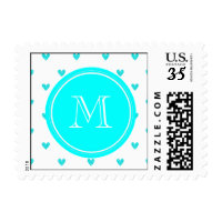 Cyan Glitter Hearts with Monogram Postage