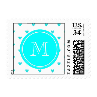 Cyan Glitter Hearts with Monogram Postage Stamps