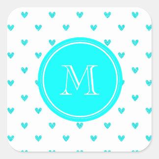 Cyan Glitter Hearts with Monogram Square Sticker