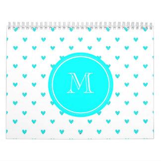 Cyan Glitter Hearts with Monogram Wall Calendars