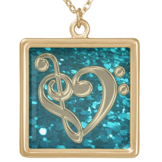 Cyan Glitter Music Treble Bass Clef Heart Necklace