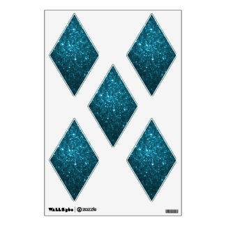 Cyan Glittery Look Diamond: Wall Decals