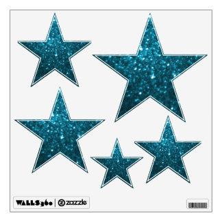 Cyan Glittery Look Stars: Wall Decals