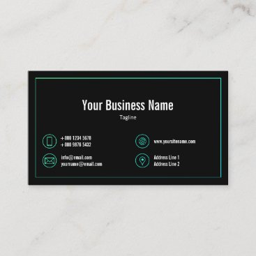 Cyan Gradient Frame Contact Icons Black Business Business Card