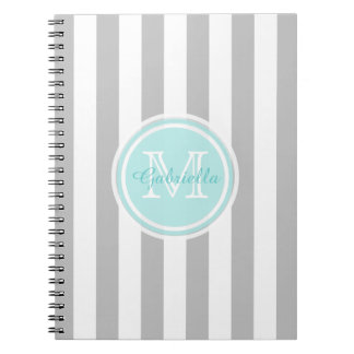 Cyan, Gray And White Striped Monogram Notebook