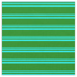 [ Thumbnail: Cyan & Green Colored Lines Pattern Fabric ]
