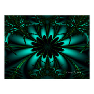 Cyan Green Jungle Fractal Poster