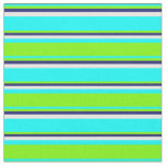 [ Thumbnail: Cyan, Green, Midnight Blue, and White Pattern Fabric ]