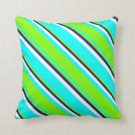 [ Thumbnail: Cyan, Green, Midnight Blue, and White Pattern Throw Pillow ]