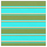 [ Thumbnail: Cyan, Green & Pale Goldenrod Pattern Fabric ]