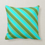 [ Thumbnail: Cyan, Green & Pale Goldenrod Pattern Throw Pillow ]