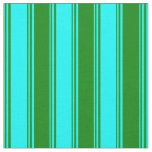 [ Thumbnail: Cyan & Green Pattern of Stripes Fabric ]