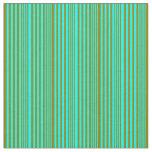 [ Thumbnail: Cyan & Green Striped Pattern Fabric ]