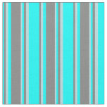 [ Thumbnail: Cyan, Grey, and Powder Blue Pattern of Stripes Fabric ]