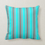 [ Thumbnail: Cyan, Grey, and Powder Blue Pattern of Stripes Throw Pillow ]