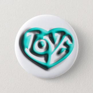 Cyan Hippie Love Heart Pinback Button