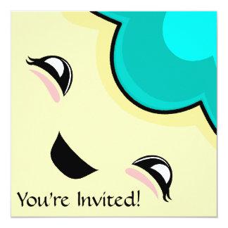 "Cyan Kawaii Tickle Monster 5.25"" Square Invitation Card"