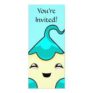 "Cyan Kawaii Tickle Monster 4"" X 9.25"" Invitation Card"