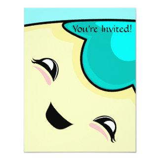 "Cyan Kawaii Tickle Monster 4.25"" X 5.5"" Invitation Card"